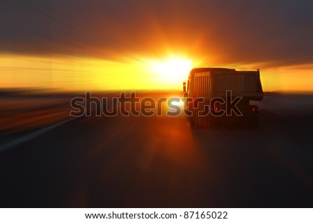 truck at sunset highway