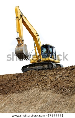 Truck backhoe Soil excavation and soil movement. The picture shows a line with slope soil. In construction site