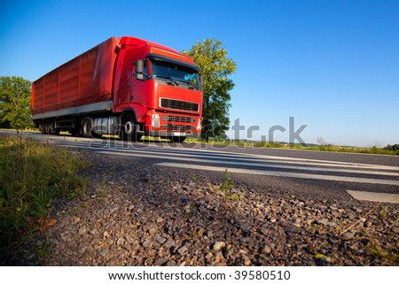 Truck cargo transportation. Wide angle view.