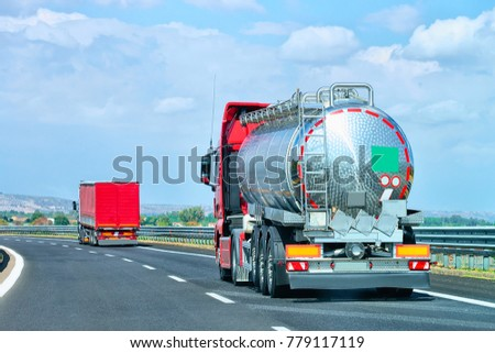 Truck cistern on road in Amalfi coast, Italy #779117119