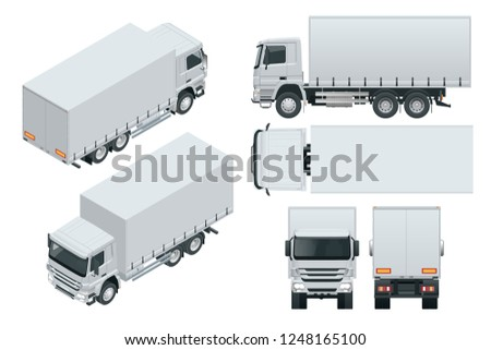 Truck delivery, lorry mock-up isolated template on white background. Isometric, side, front, back, top view