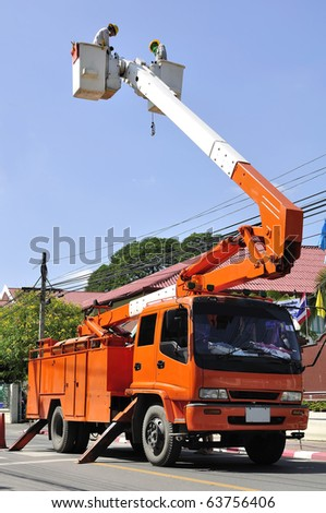 Truck electric service People working in the electricity from Thailand