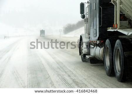Truck in snow storm near La Grande, Oregon #416842468