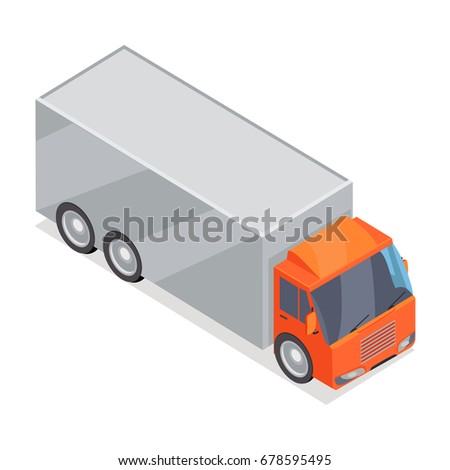 Truck isometric projection icon. Lorry with container  illustration isolated on white background. Cargo transportations. For game environment, transport infographics, logo, web design