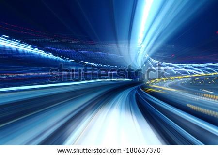 Truck light trail of train