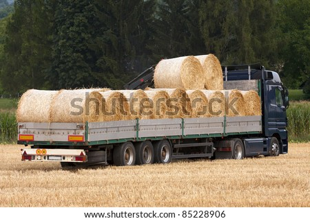 Truck loaded with the bales of hay. - stock photo