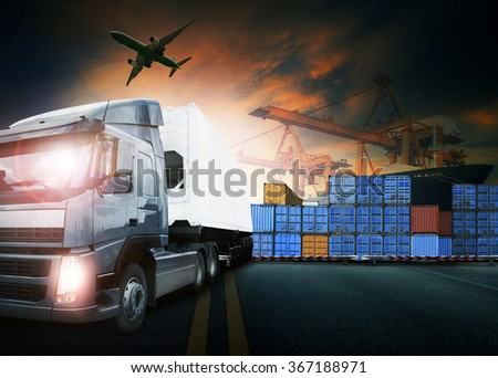 truck loading container in ship port and freight cargo plane flying for logistic and transport business