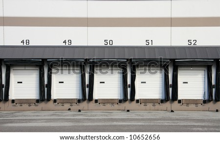 Truck loading dock at warehouse.