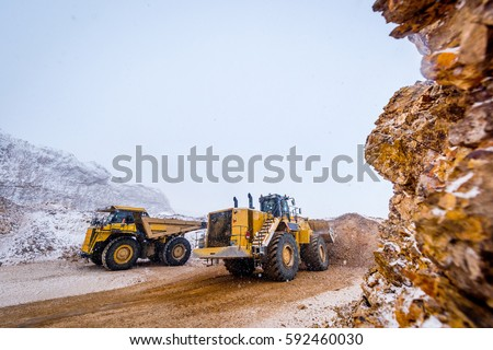Truck loading. Gold mining