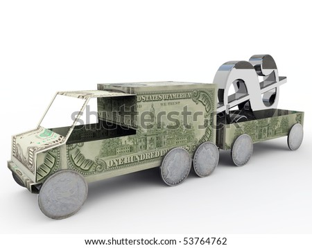 truck made with green dollars isolated on white background