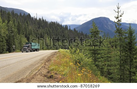 Truck on a mountain road