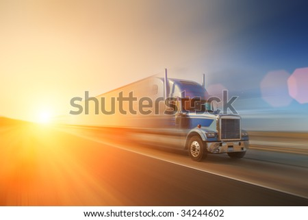 Truck on highway. California, USA