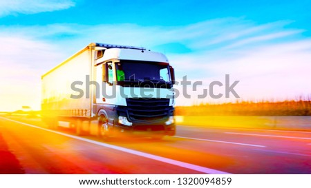 Truck on highway . Commercial transport .  truck transport container .  #1320094859