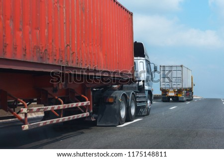 Truck on highway road with big container, transportation concept.,import,export logistic industrial Transporting Land transport on asphalt expressway #1175148811