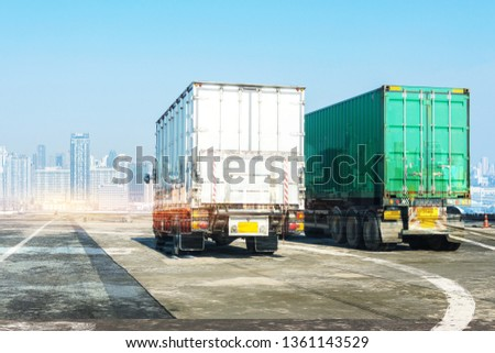 Truck on highway road with container, transportation concept.,import,export logistic industrial Transporting Land transport on the asphalt expressway with blue sky                    #1361143529