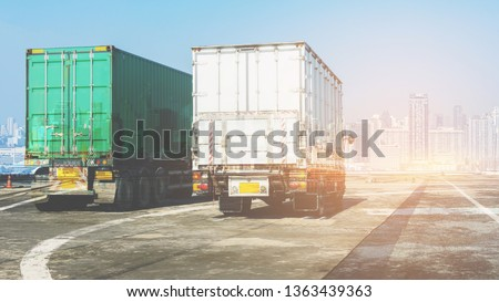 Truck on highway road with container, transportation concept.,import,export logistic industrial Transporting Land transport on the asphalt expressway with blue sky                        #1363439363