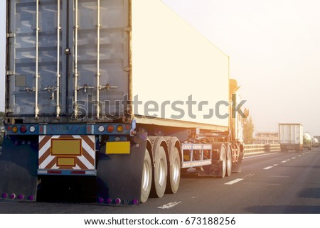 Truck on highway road with container, transportation concept.,import,export logistic industrial Transporting Land transport on the asphalt expressway with blue sky