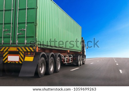 Truck on highway road with green container, transportation concept.,import,export logistic industrial Transporting Land transport on the asphalt expressway.with blue sky background #1059699263