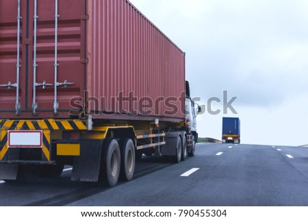 Truck on highway road with red container, transportation concept.,import,export logistic industrial Transporting Land transport on asphalt expressway #790455304