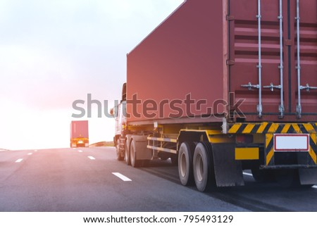 Truck on highway road with red container, transportation concept.,import,export logistic industrial Transporting Land transport on the asphalt expressway with blue sky #795493129