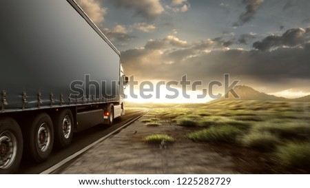 Truck on lonely highway