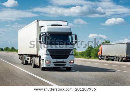 truck on road. cargo transportation