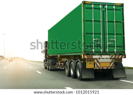 Truck on road container, transportation concept.,import,export logistic industrial Transporting Land transport on the expressway #1012015921