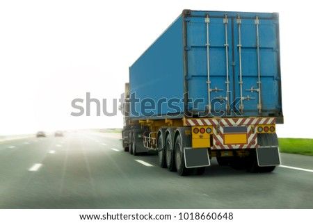 Truck on road container, transportation concept.,import,export logistic industrial Transporting Land transport on the expressway #1018660648
