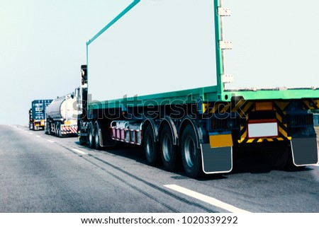 Truck on road container, transportation concept.,import,export logistic industrial Transporting Land transport on the expressway #1020339292