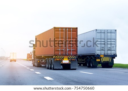 Truck on road container, transportation concept.,import,export logistic industrial Transporting Land transport on the expressway #754750660