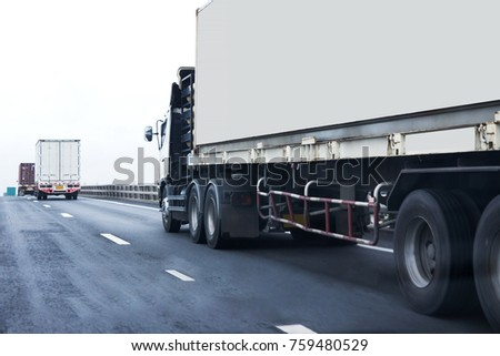 Truck on road container, transportation concept.,import,export logistic industrial Transporting Land transport on the expressway #759480529