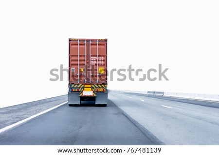 Truck on road container, transportation concept.,import,export logistic industrial Transporting Land transport on the expressway.on white background