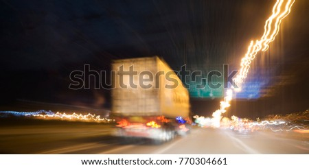Truck on road container, transportation concept.,import,export logistic industrial Transporting Land transport on the expressway.on abstract blurred background