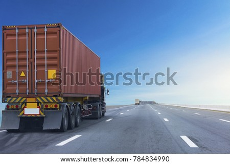Truck on road container, transportation concept.,import,export logistic industrial Transporting Land transport on the expressway #784834990