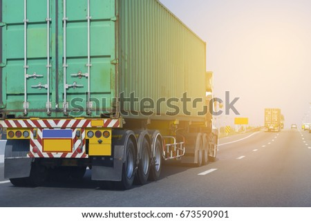 Truck on road container, transportation concept.Transporting Land transport #673590901