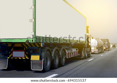 Truck on road container, transportation concept.Transporting Land transport on the expressway