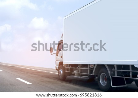 Truck on road container, transportation concept.Transporting Land transport on the expressway #695821816