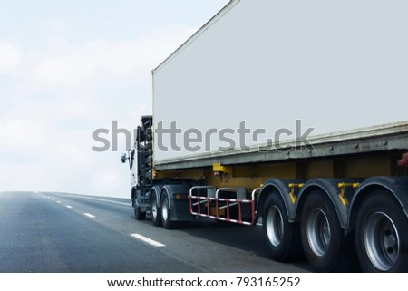 Truck on road container, transportation concept.Transporting Land transport on the expressway #793165252