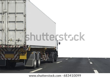Truck on road container, transportation concept.Transporting Land transport on white background #683410099