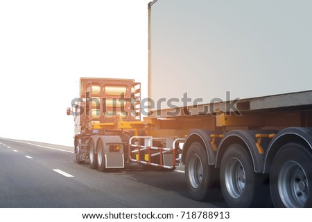 Truck on road container, transportation concept.Transporting Land transport on white background