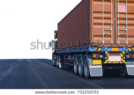 Truck on road container, transportation concept.Transporting Land transport on white background #732250192