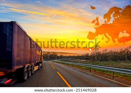 Truck on road on Europe map background - shipping travel concept.