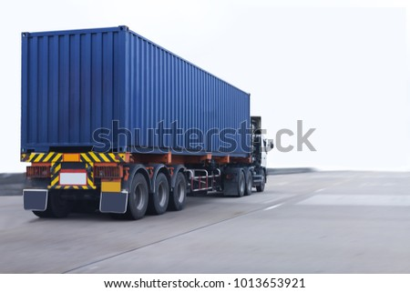 Truck on road with blue container, transportation concept.,import,export logistic industrial Transporting Land transport on the expressway