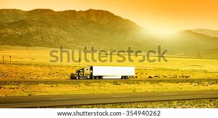 Truck on the road, Arizona, USA