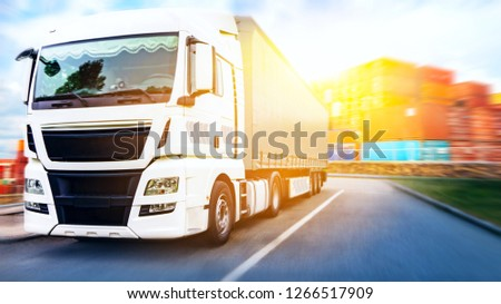 Truck on the road . Commercial transport .  truck transport container #1266517909