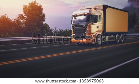 Truck on the road. 3d render and illustration. #1358975063