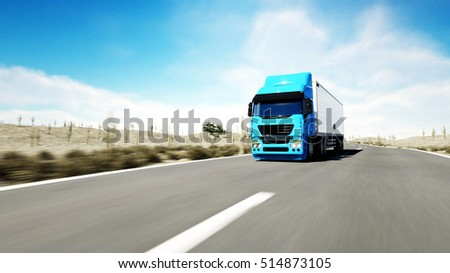 Truck on the road, highway. Transports, logistics concept. 3d rendering.