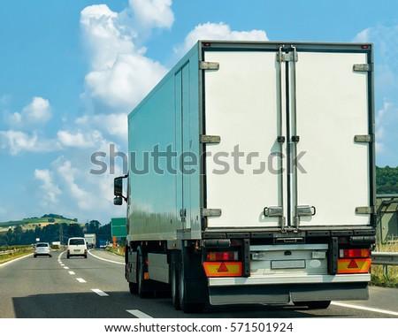 Truck on the road in Canton Geneva in Switzerland. #571501924