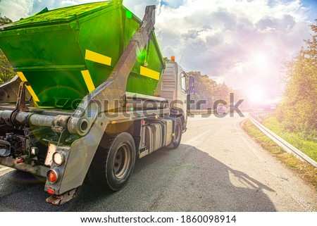 truck on the road, Urban recycling waste and garbage services  , Stock photo ©