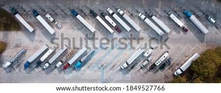 Truck stop on Rest area On the highway. Top view car parking lot. Truck Driver company. View from the bird's flight. Aerial photography. Copy space. Stockfoto ©